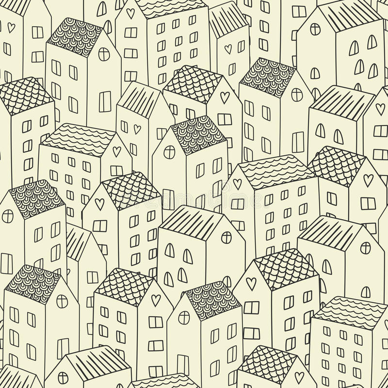 Διανυσματικό άνευ ραφής σχέδιο με τα σπίτια διανυσματική απεικόνιση