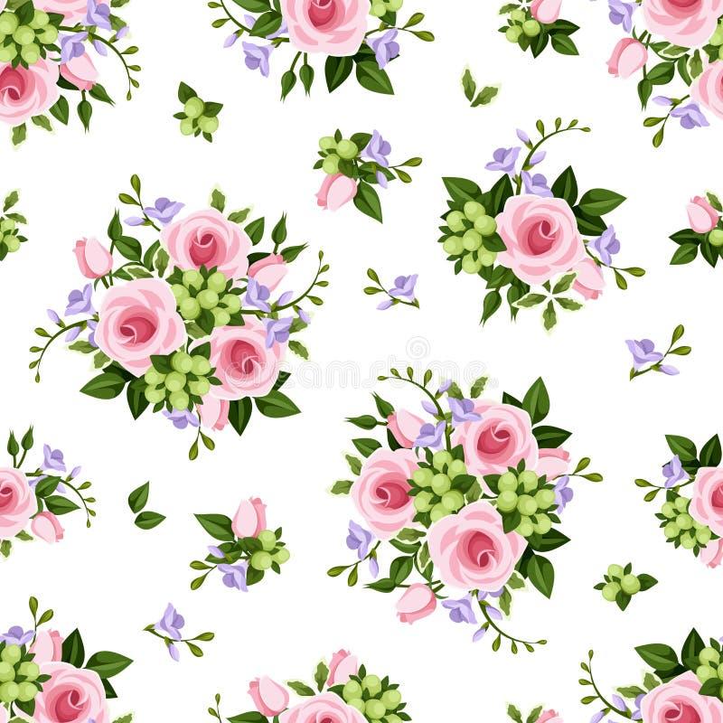 Διανυσματικό άνευ ραφής σχέδιο με τα τριαντάφυλλα και τα λουλούδια freesia απεικόνιση αποθεμάτων