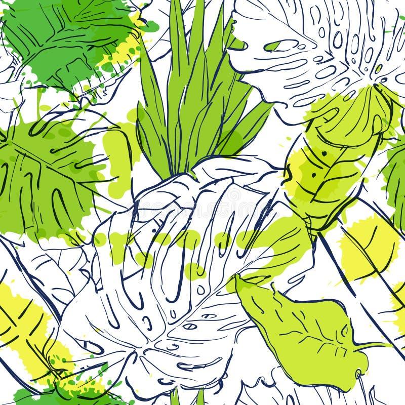 Διανυσματικό άνευ ραφής σχέδιο με τα τροπικούς φύλλα φοινικών περιλήψεων και τους λεκέδες watercolor Απεικόνιση θερινής φύσης ελεύθερη απεικόνιση δικαιώματος