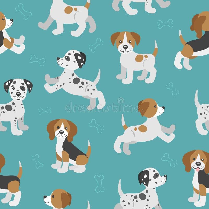 Διανυσματικό άνευ ραφής σχέδιο με τα χαριτωμένα κουτάβια σκυλιών κινούμενων σχεδίων απεικόνιση αποθεμάτων