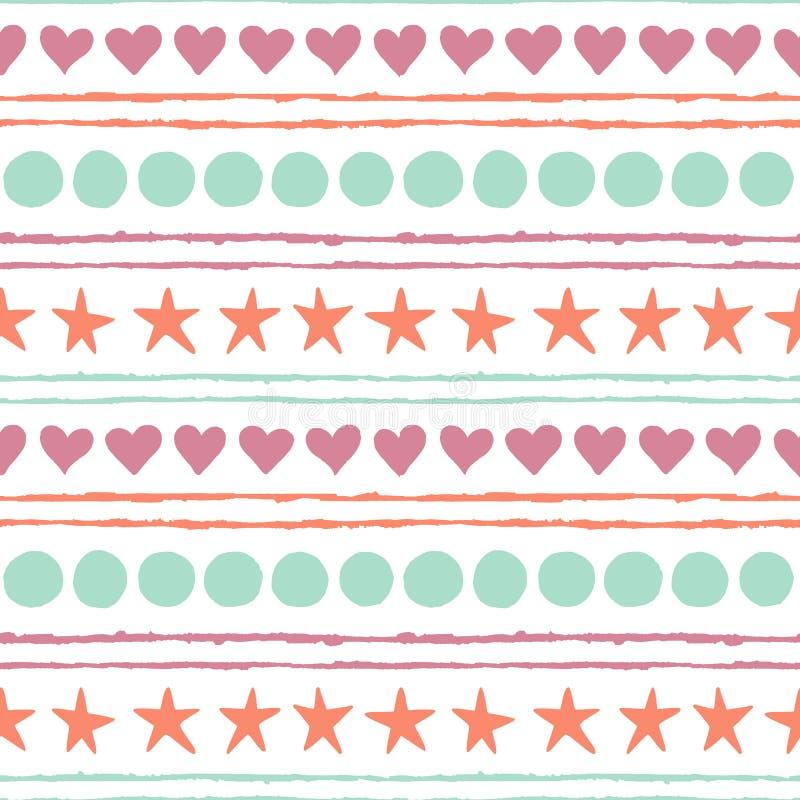 Διανυσματικό άνευ ραφής σχέδιο με τα χρωματισμένους συρμένους χέρι αστέρια, τους κύκλους, τις καρδιές και τις λουρίδες διανυσματική απεικόνιση