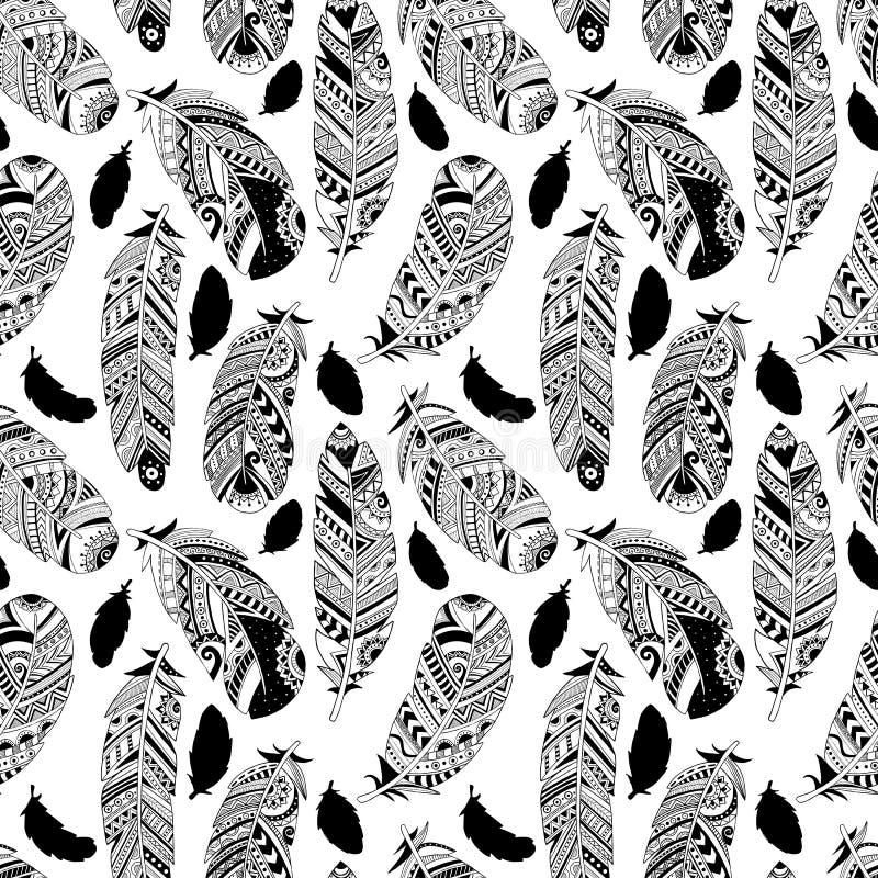 Διανυσματικό άνευ ραφής σχέδιο με τα hand-drawn φτερά απεικόνιση αποθεμάτων