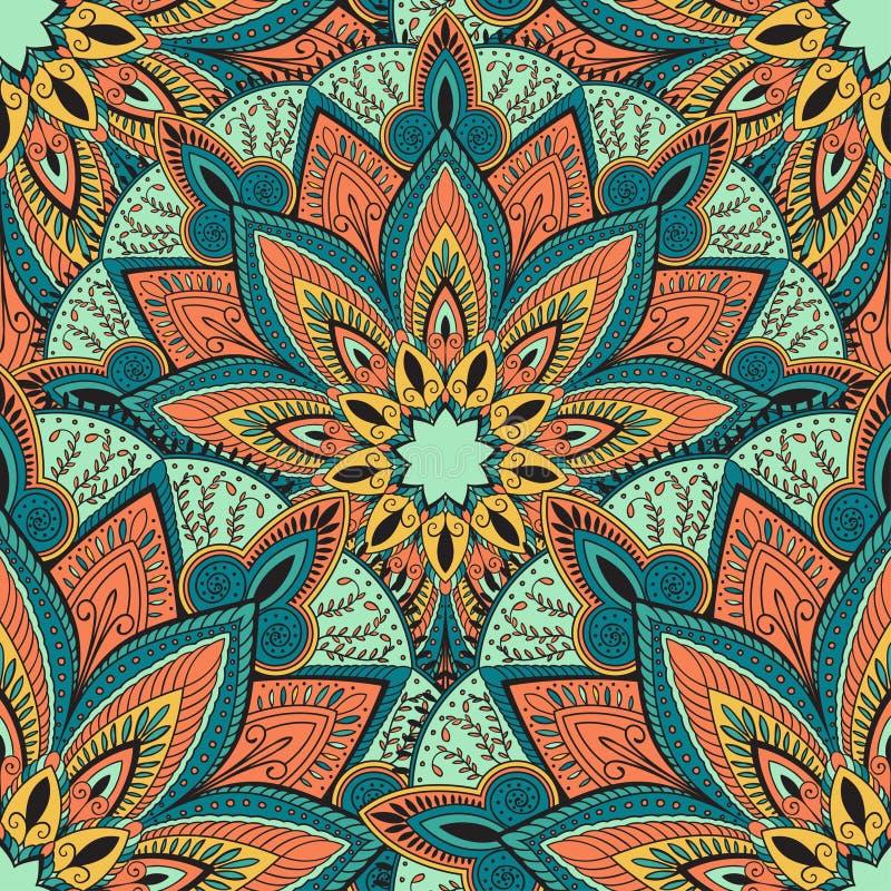 Διανυσματικό άνευ ραφής σχέδιο με την αφηρημένη διακόσμηση Στρογγυλό σχέδιο mandala για την εκτύπωση στο ύφασμα ή χαρτί διανυσματική απεικόνιση
