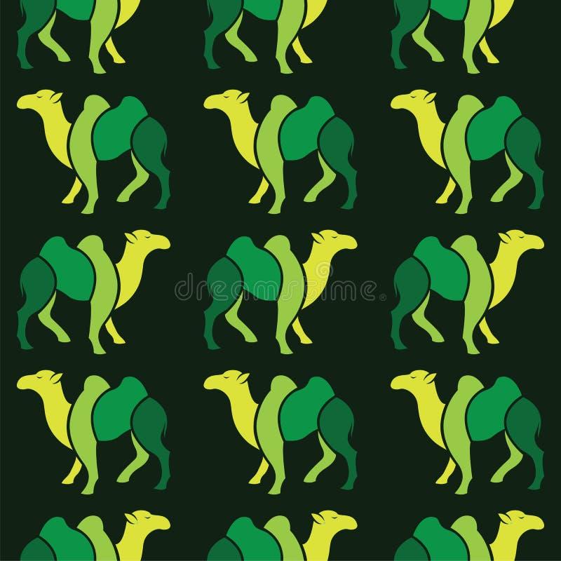 Διανυσματικό άνευ ραφής σχέδιο με την πράσινη καμήλα διανυσματική απεικόνιση