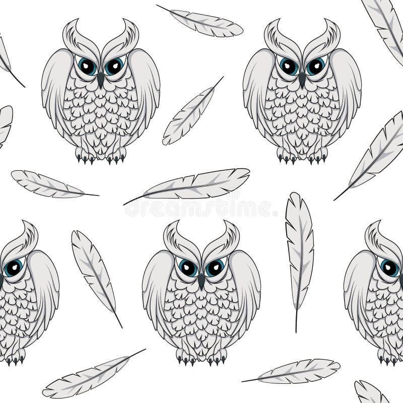 Διανυσματικό άνευ ραφής σχέδιο με τις άσπρα πολικά κουκουβάγιες και τα φτερά ελεύθερη απεικόνιση δικαιώματος