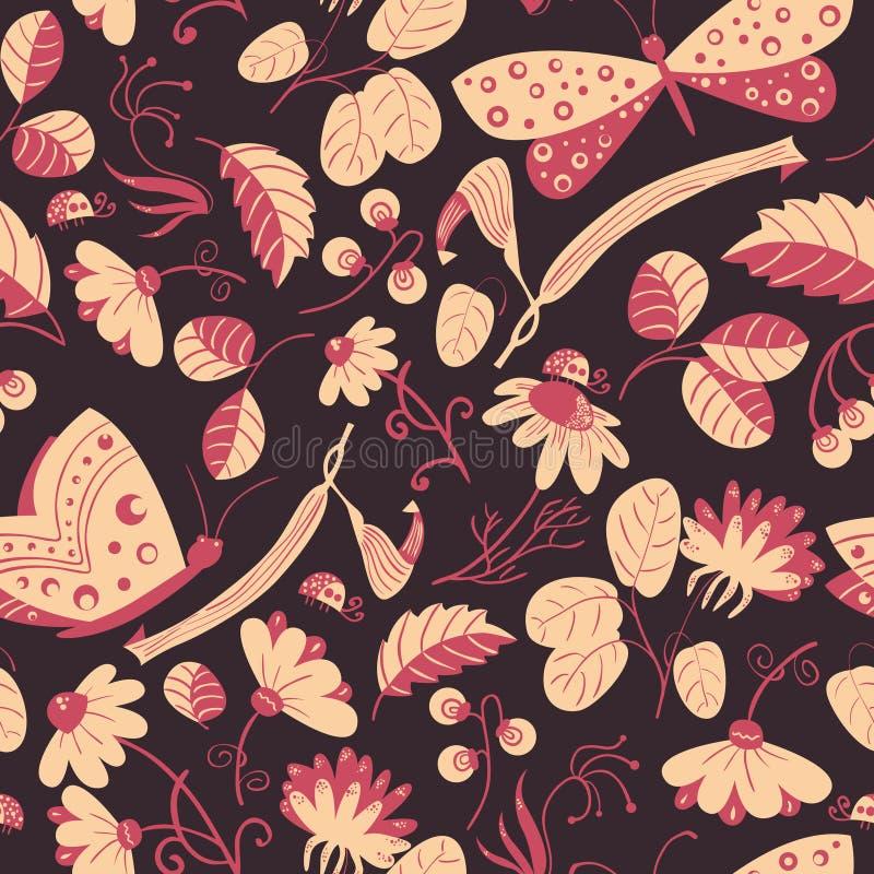 Διανυσματικό άνευ ραφής σχέδιο με τις πεταλούδες, ladybugs, λουλούδια απεικόνιση αποθεμάτων