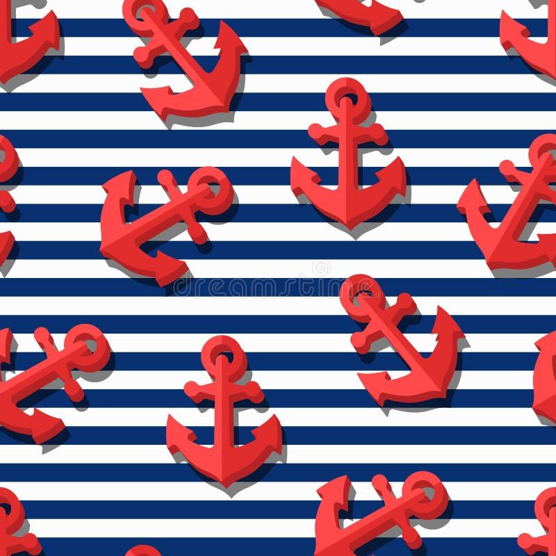 Διανυσματικό άνευ ραφής σχέδιο με τις τρισδιάστατες τυποποιημένες κόκκινες άγκυρες και τα μπλε λωρίδες ναυτικών ελεύθερη απεικόνιση δικαιώματος