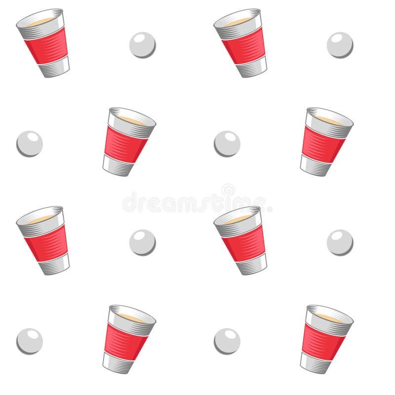 Διανυσματικό άνευ ραφής σχέδιο μπύρας pong ελεύθερη απεικόνιση δικαιώματος