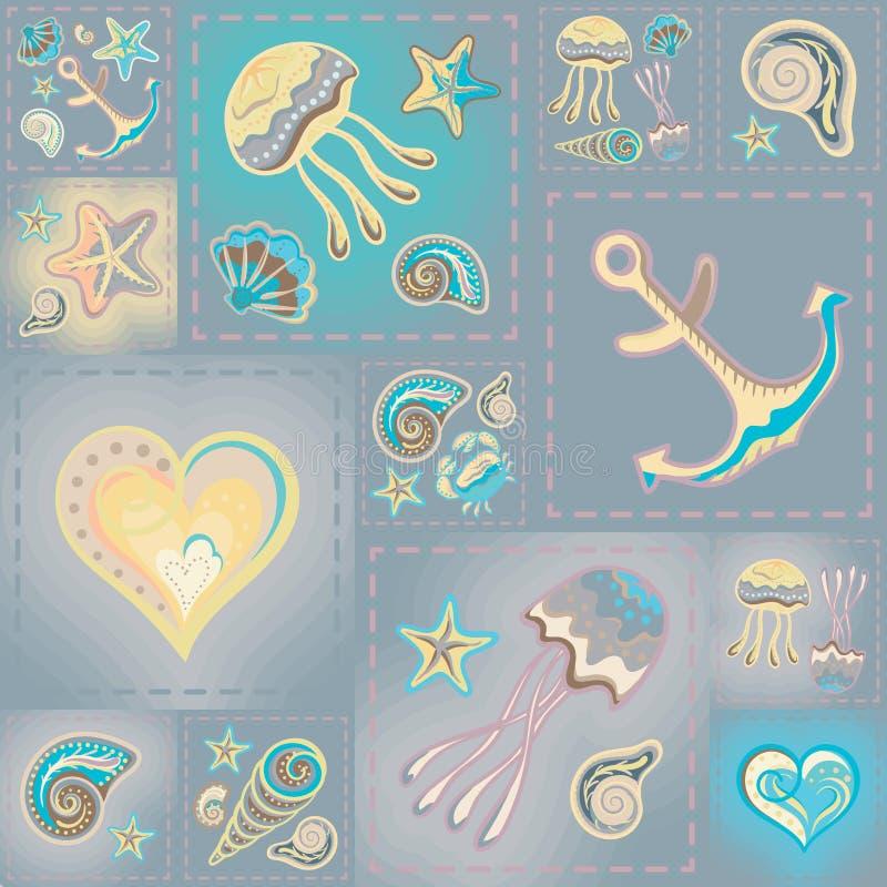 Διανυσματικό άνευ ραφής σχέδιο ναυτικού Κύματα, καβούρι, ρόδα, άγκυρα, αστέρι, καρδιά απεικόνιση αποθεμάτων