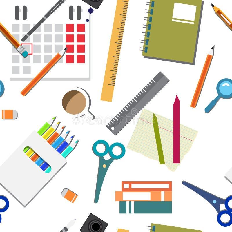 Διανυσματικό άνευ ραφής σχέδιο πίσω ύφος σχολικών στο επίπεδο κινούμενων σχεδίων απεικόνιση αποθεμάτων