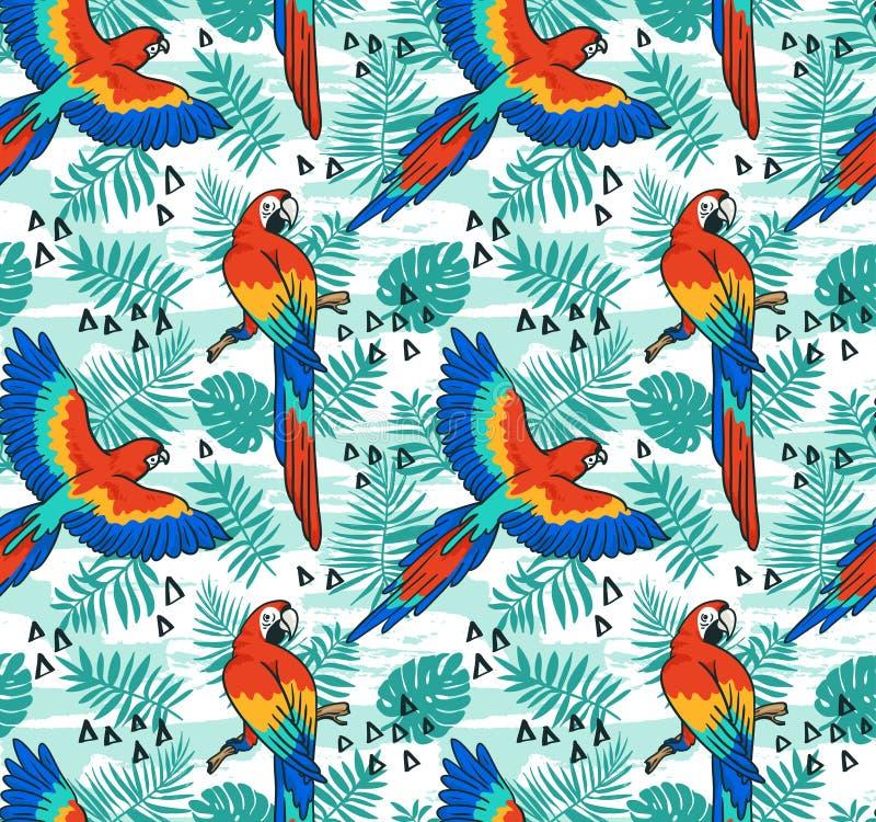 Διανυσματικό άνευ ραφής σχέδιο παπαγάλων Ara Τροπικό σχέδιο υφάσματος με τα φύλλα και τα πουλιά απεικόνιση αποθεμάτων