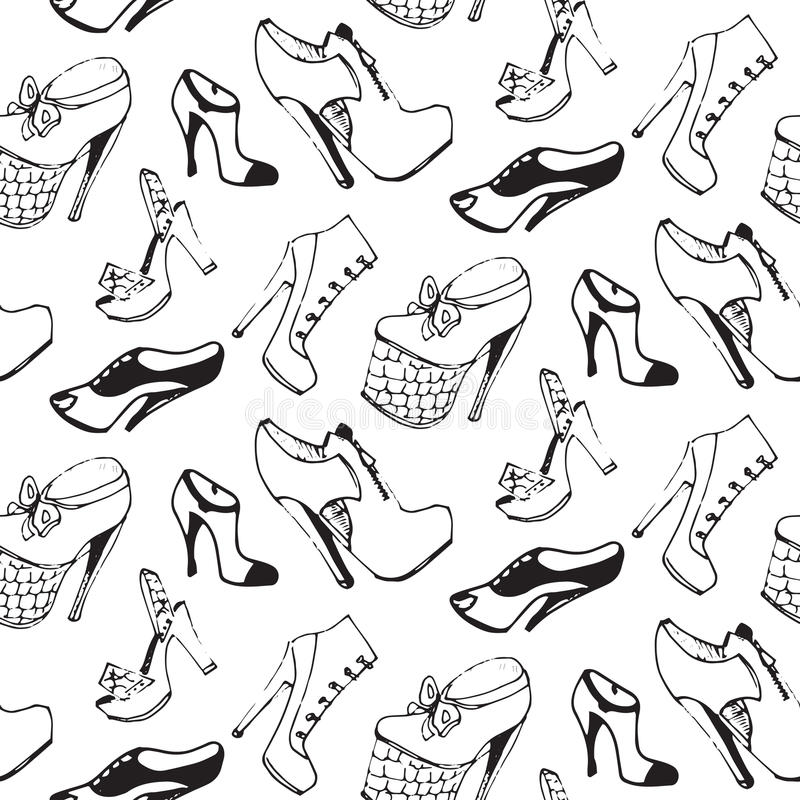 77be8b0924f Διανυσματικό άνευ ραφής σχέδιο παπουτσιών Ατελείωτη σύσταση υποδημάτων στο  ύφος σκίτσων