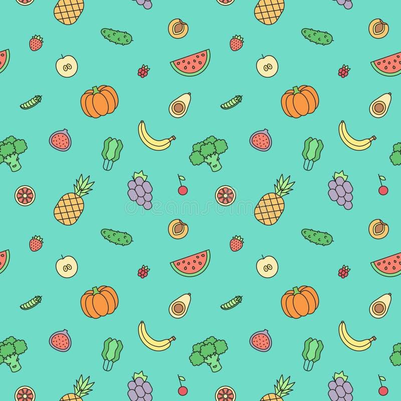 Διανυσματικό άνευ ραφής σχέδιο περιλήψεων φρούτων και λαχανικών πολύχρωμο σύγχρονο minimalistic σχέδιο διανυσματική απεικόνιση