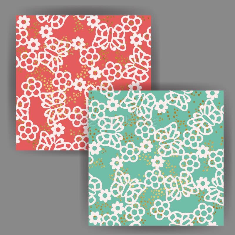 Διανυσματικό άνευ ραφής σχέδιο πεταλούδων & λουλουδιών με τη χρυσή επίδραση γραμματοσήμων φύλλων αλουμινίου απεικόνιση αποθεμάτων