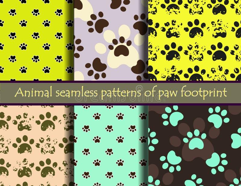 Διανυσματικό άνευ ραφής σχέδιο που τίθεται με τα ίχνη γατών ή σκυλιών ελεύθερη απεικόνιση δικαιώματος