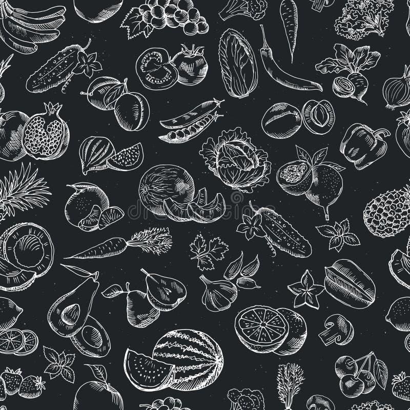 Διανυσματικό άνευ ραφής σχέδιο συρμένων των χέρι φρούτων και λαχανικών Άσπρες απεικονίσεις στο σκοτεινό πίνακα ελεύθερη απεικόνιση δικαιώματος