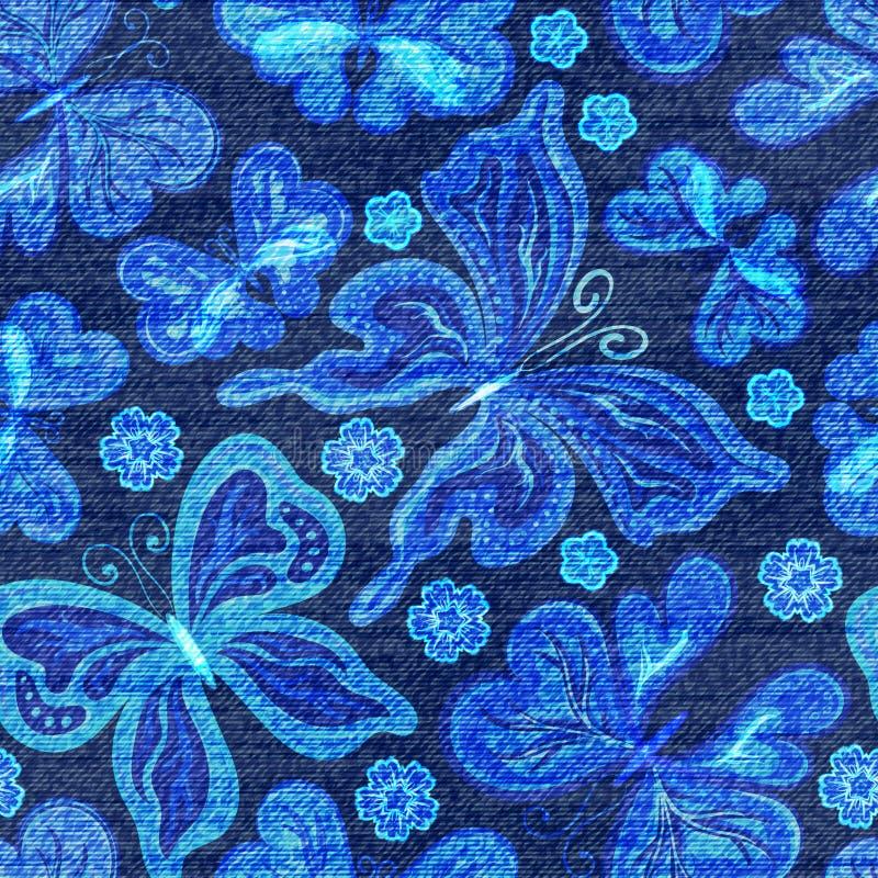 Διανυσματικό άνευ ραφής σχέδιο τζιν Υπόβαθρο τζιν με τις πεταλούδες μπλε τζιν υφασμάτων ανασκ απεικόνιση αποθεμάτων