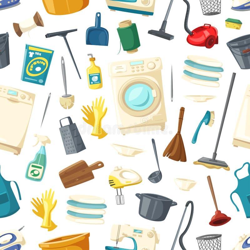 Διανυσματικό άνευ ραφής σχέδιο της πλύσης εγχώριου καθαρισμού απεικόνιση αποθεμάτων