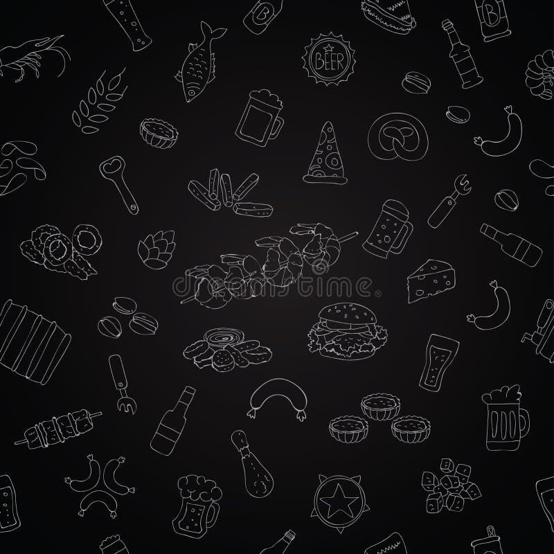 Διανυσματικό άνευ ραφής σχέδιο των εικονιδίων μπύρας απεικόνιση αποθεμάτων