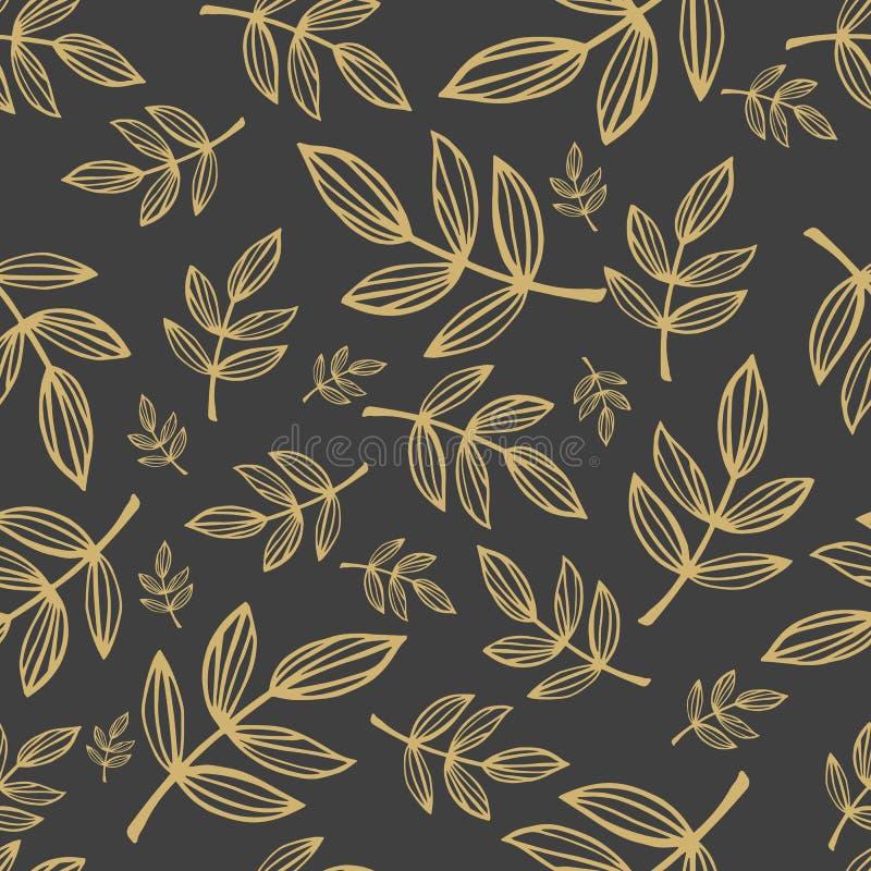 Διανυσματικό άνευ ραφής σχέδιο των κλάδων με τα φύλλα διανυσματική απεικόνιση