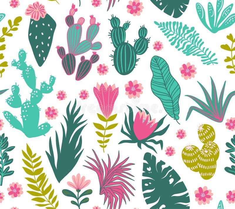 Διανυσματικό άνευ ραφής σχέδιο των τροπικών εγκαταστάσεων, κάκτοι, succulents, λουλούδια διανυσματική απεικόνιση