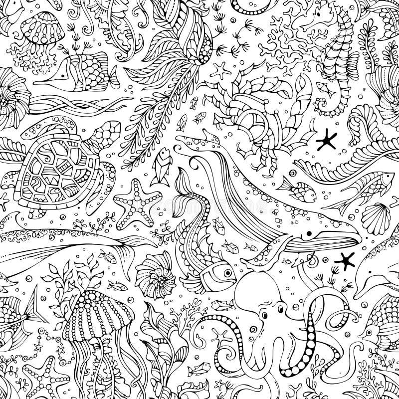 Διανυσματικό άνευ ραφής σχέδιο των υποβρύχιων άγριων ζώων και των εγκαταστάσεων διανυσματική απεικόνιση