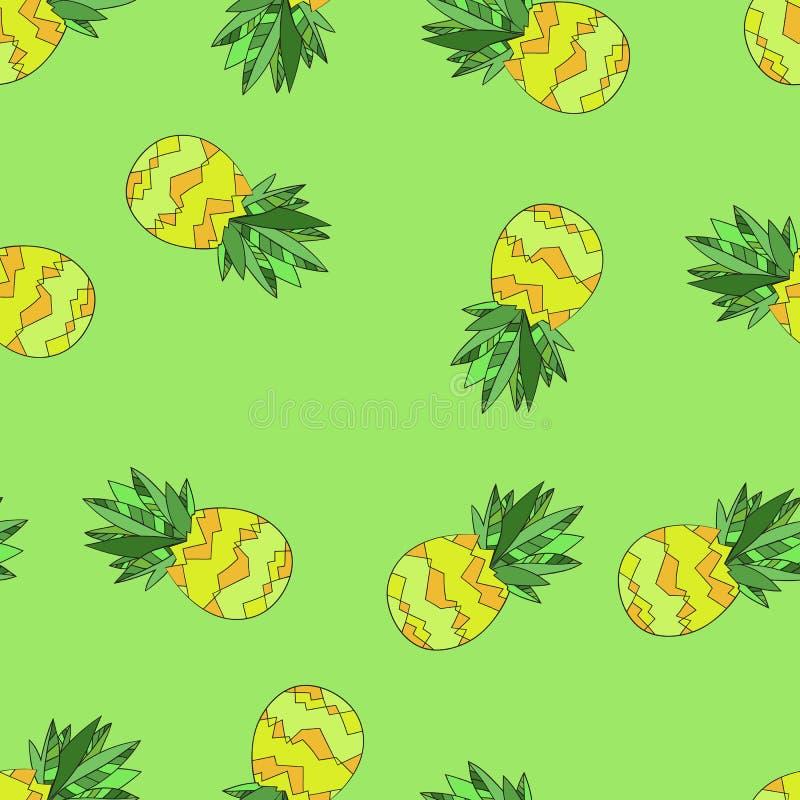 Διανυσματικό άνευ ραφής σχέδιο υποβάθρου με τους ανανάδες συρμένο χέρι διανυσματική απεικόνιση