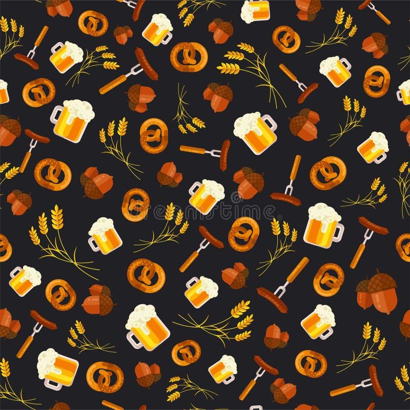 Διανυσματικό άνευ ραφής σχέδιο υποβάθρου σχεδίων Oktoberfest Octoberfe ελεύθερη απεικόνιση δικαιώματος