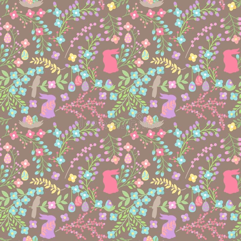 Διανυσματικό άνευ ραφής σχέδιο υποβάθρου Tileable Πάσχα με τα λουλούδια διανυσματική απεικόνιση