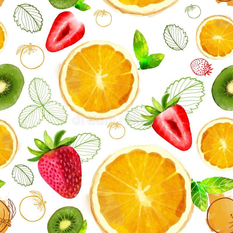 Διανυσματικό άνευ ραφής σχέδιο φρούτων διανυσματική απεικόνιση