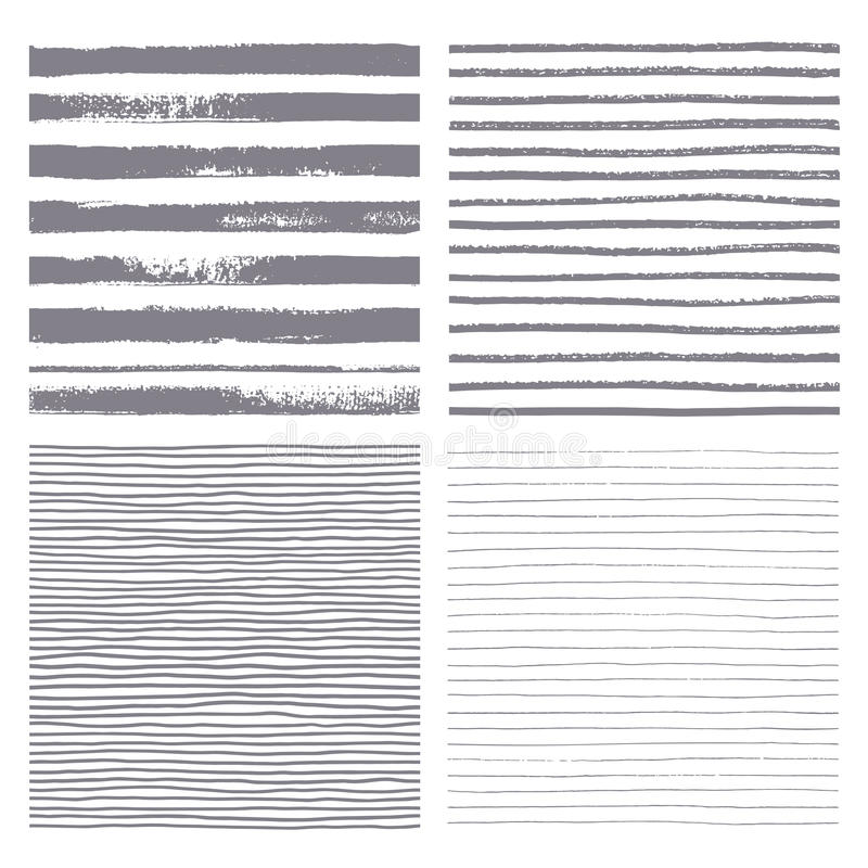 Διανυσματικό άνευ ραφής σχέδιο λωρίδων βουρτσών Σύνολο λεπτών και παχιών γραμμών στοκ φωτογραφία
