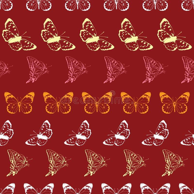 Διανυσματικό άνευ ραφής σχέδιο λωρίδων Lineart πεταλούδων απεικόνιση αποθεμάτων