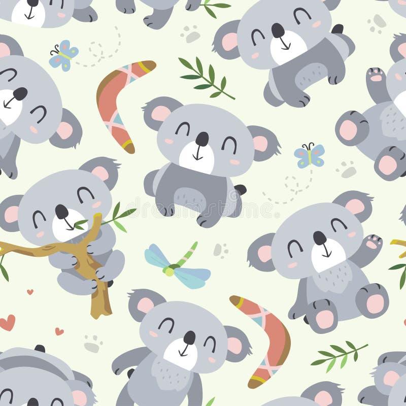Διανυσματικό άνευ ραφής σχέδιο koala ύφους κινούμενων σχεδίων διανυσματική απεικόνιση