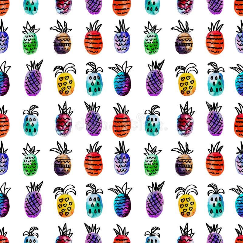 Διανυσματικό άνευ ραφής σχέδιο watercolor με το ζωηρόχρωμο ανανά ουράνιων τόξων και τα μαύρα hand-drawn στοιχεία Στην άσπρη ανασκ διανυσματική απεικόνιση