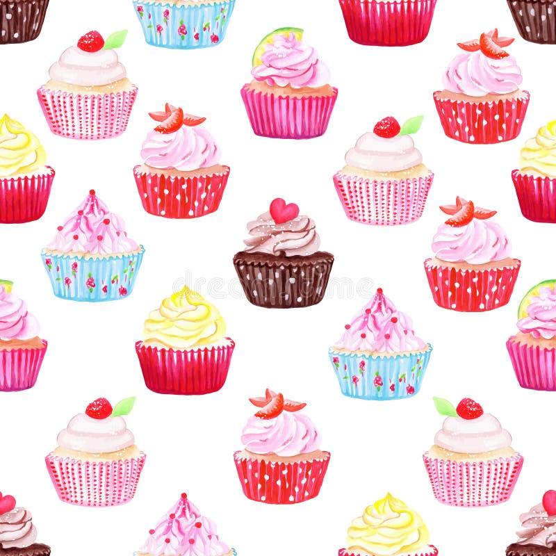 Διανυσματικό άνευ ραφής σχέδιο Watercolor cupcakes ελεύθερη απεικόνιση δικαιώματος