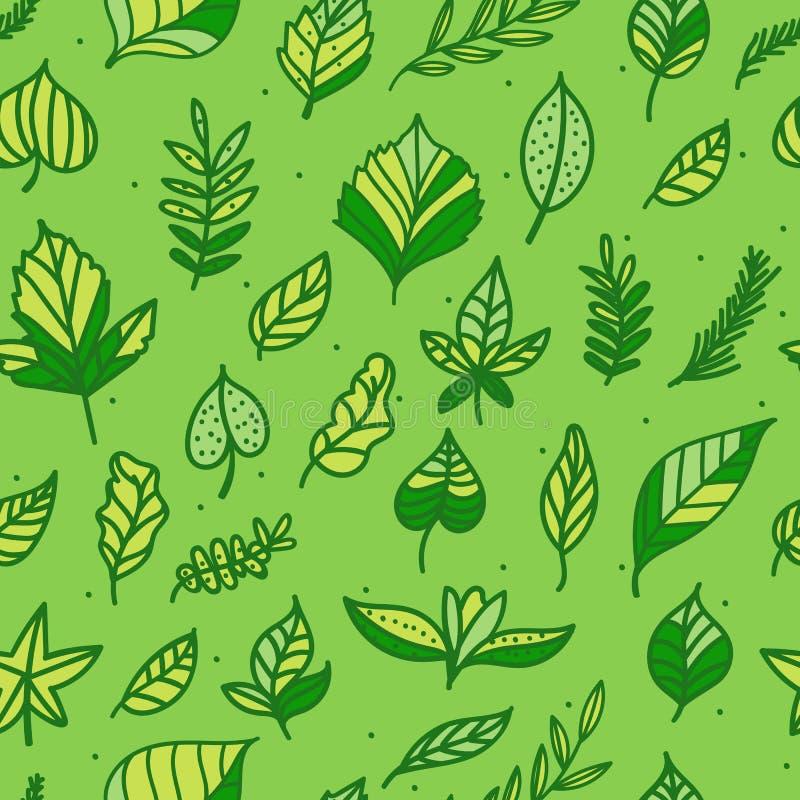Διανυσματικό άνευ ραφής σχεδίων πράσινο υπόβαθρο σύστασης φύλλων συρμένο χέρι Αφηρημένο σχέδιο επιφάνειας eco φύσης απεικόνιση αποθεμάτων