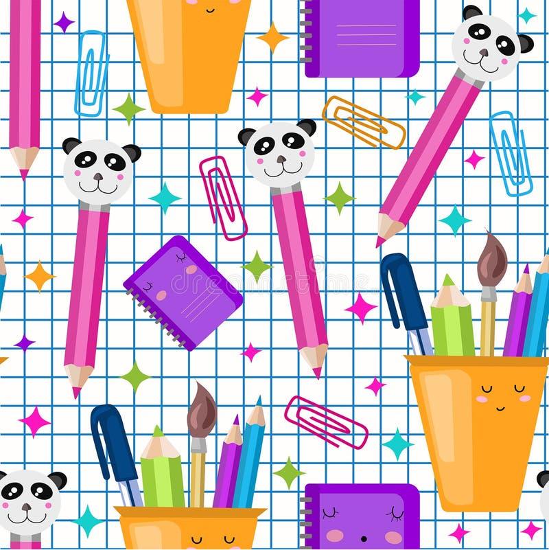 Διανυσματικό άνευ ραφής σχολικό σχέδιο Χαριτωμένη τυπωμένη ύλη παιδιών kawaii, σύσταση o Τακτοποιημένο έγγραφο καταλόγων διανυσματική απεικόνιση