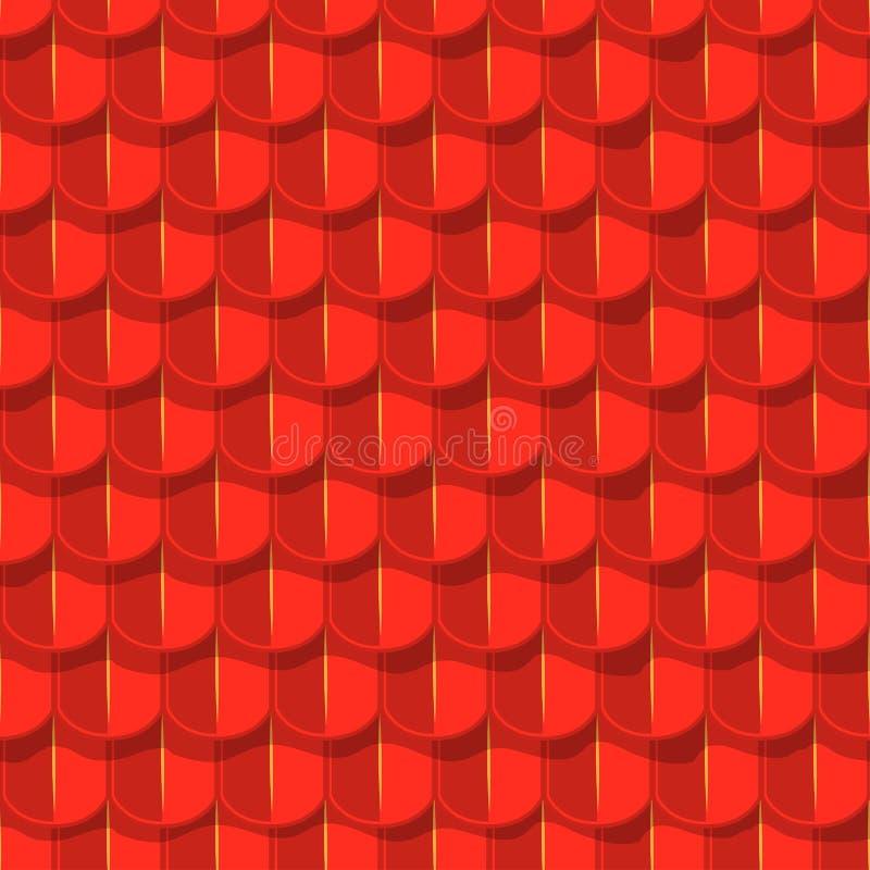 Διανυσματικό άνευ ραφής υπόβαθρο. Κόκκινη στέγη κεραμιδιών ελεύθερη απεικόνιση δικαιώματος
