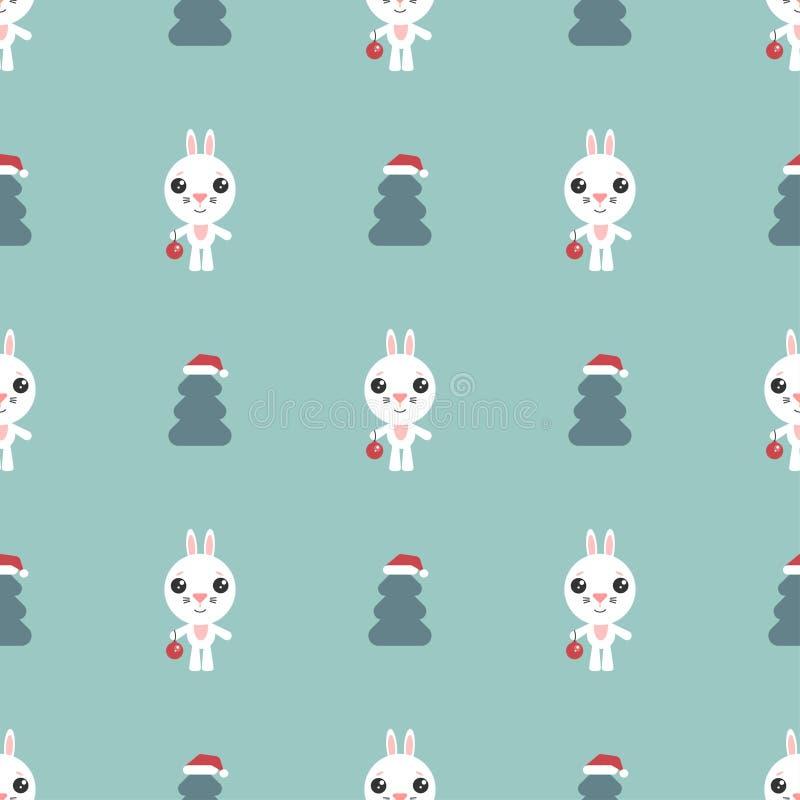 Διανυσματικό άνευ ραφής υπόβαθρο Λαγουδάκι κινούμενων σχεδίων Χαριτωμένο rabbitt με τη νέα σφαίρα έτους Αστείος χαρακτήρας και χρ απεικόνιση αποθεμάτων