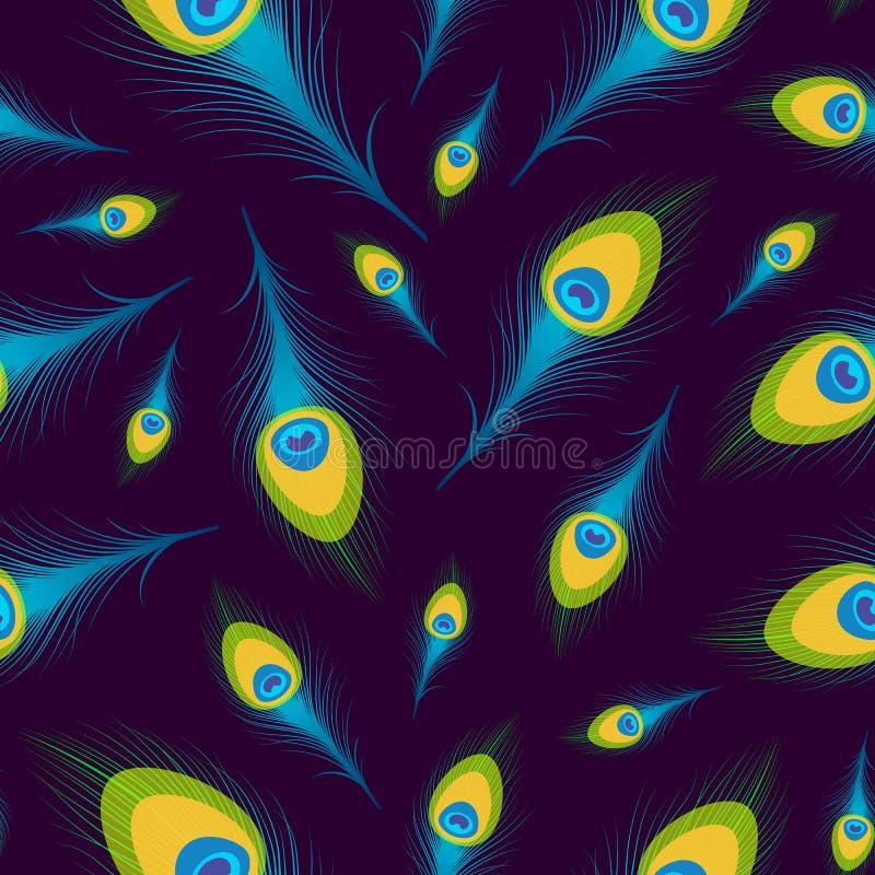 Διανυσματικό άνευ ραφής υπόβαθρο με τα φτερά peacock διανυσματική απεικόνιση
