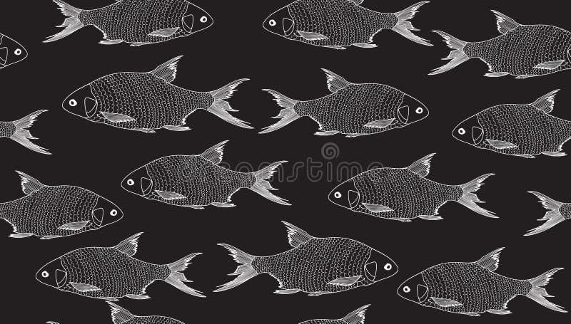 Διανυσματικό άνευ ραφής υπόβαθρο με τα ψάρια, χειρόγραφα με την κιμωλία σε έναν γκρίζο πίνακα διανυσματική απεικόνιση