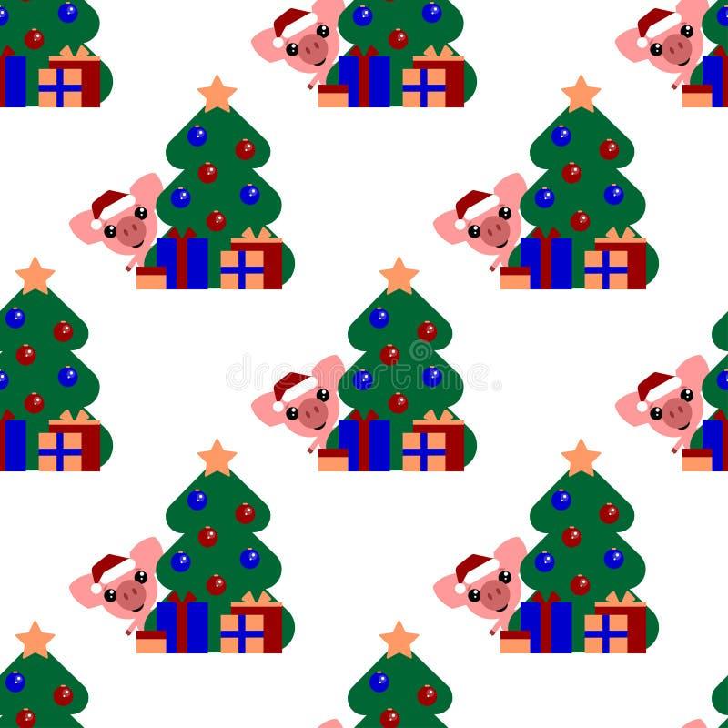 Διανυσματικό άνευ ραφής υπόβαθρο Ο χαριτωμένος χοίρος κοιτάζει έξω από πίσω από ένα δέντρο με τις σφαίρες Ο αστείος χαρακτήρας με απεικόνιση αποθεμάτων