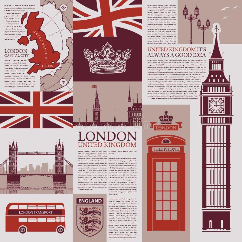 Διανυσματικό άνευ ραφής υπόβαθρο στο θέμα του UK και του Λονδίνου με τις δημοσιεύσεις εφημερίδων, αρχιτεκτονικά ορόσημα, βρετανικ απεικόνιση αποθεμάτων