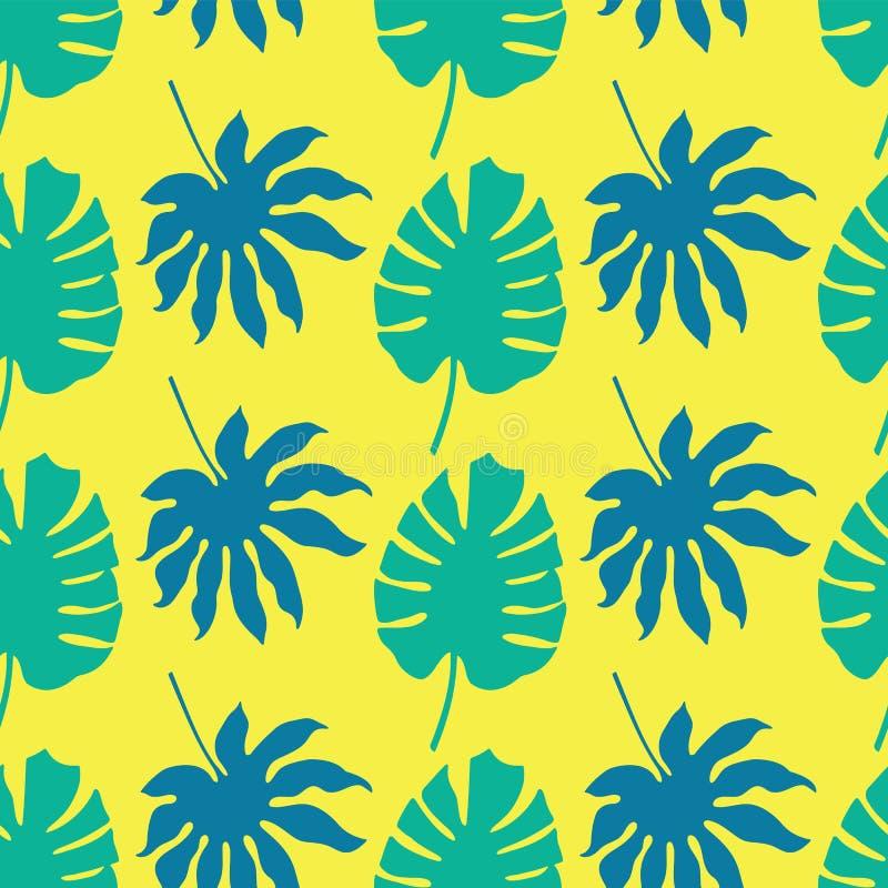Διανυσματικό άνευ ραφής υπόβαθρο σχεδίων με τα πράσινα και μπλε τροπικά φύλλα στο κίτρινο υπόβαθρο νέου ελεύθερη απεικόνιση δικαιώματος