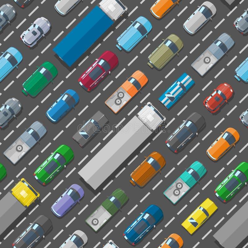 Διανυσματικό άνευ ραφής υπόβαθρο σχεδίων οδικών προβλημάτων κυκλοφοριακής συμφόρησης μεταφορών πόλεων οχημάτων αυτοκινήτων διανυσματική απεικόνιση