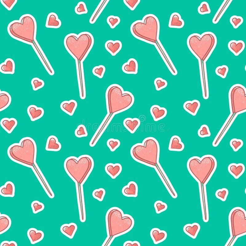 Διανυσματικό άνευ ραφής υπόβαθρο σχεδίων με τις καρδιές και Popsicle αυτοκόλλητων ετικεττών Ρόδινη κατασκευασμένη παγωτό ή καραμέ ελεύθερη απεικόνιση δικαιώματος