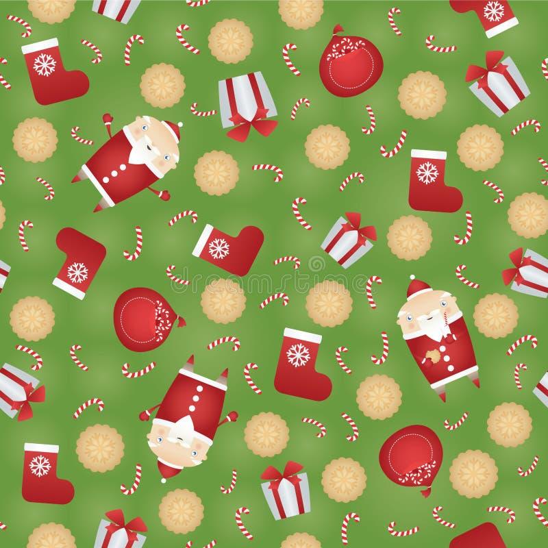 Διανυσματικό άνευ ραφής υπόβαθρο σχεδίων Χριστουγέννων με Άγιο Βασίλη, το σάκο δώρων, τα μπισκότα μελοψωμάτων, την κόκκινη κάλτσα διανυσματική απεικόνιση