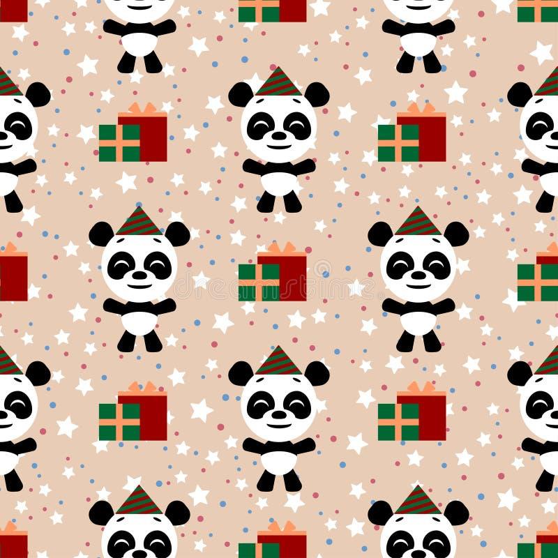 Διανυσματικό άνευ ραφής υπόβαθρο E Αστείος λίγο emoji κινούμενων σχεδίων panda characte απεικόνιση αποθεμάτων