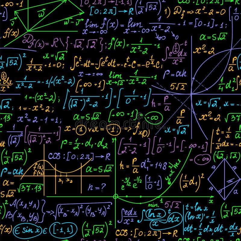 Διανυσματικό άνευ ραφής υπόβαθρο Math με τους χειρόγραφους πολύχρωμους μαθηματικούς τύπους, υπολογισμοί, εξισώσεις ελεύθερη απεικόνιση δικαιώματος