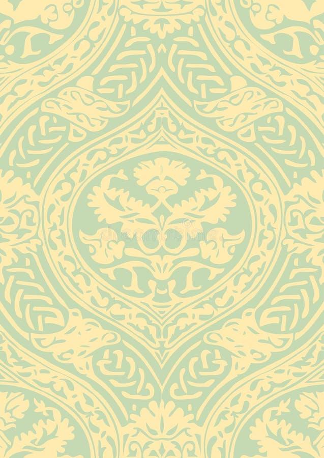 Διανυσματικό άνευ ραφής floral παλαιό σχέδιο με να συμπλέξει τις κορδέλλες διανυσματική απεικόνιση